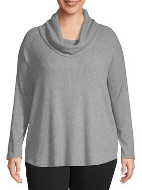 Women's Plus Size Cowl Neck Ribbed Top