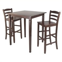 Pemberly Row 3 Piece Square Pub Dining Set in Antique Walnut