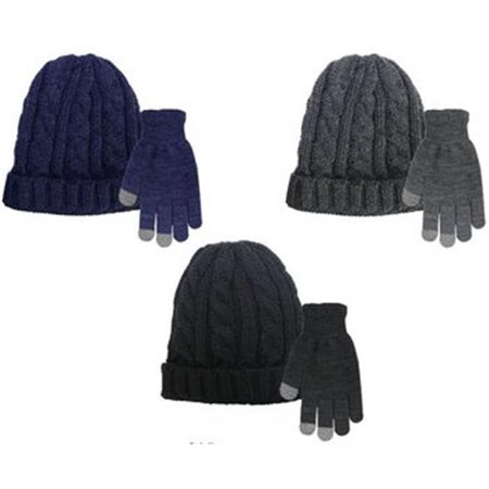 Nyc Underground 2280347 Mens Cable Knit Hat   Texting Gloves Set  Case Of 60