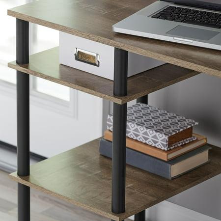 Mainstays No-Tools Computer Desk, Rustic Brown