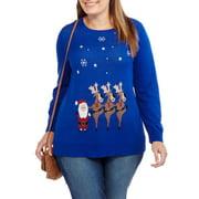 Holiday Women's Plus Dancing Reindeer Pullover Sweater