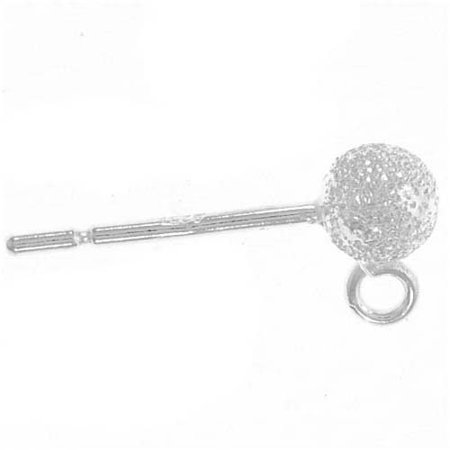 (Sterling Silver Earrings Stardust Sparkle Ball Post & Ring 4mm (4))
