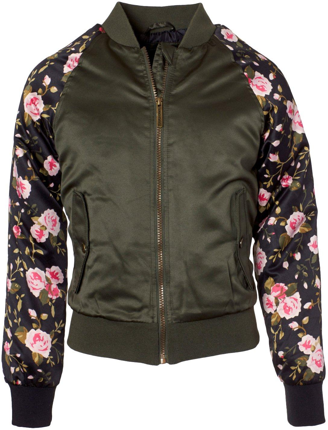 Limited Too Girls/' Floral Printed Sleeve Satin Bomber Jacket Size Large 10-12
