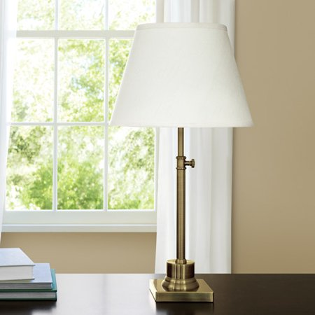 Canopy Antique Brass Adjustable Table Lamp With Fresh Ivory English