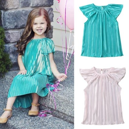 Toddler Baby Kids Girls Retro Ruffle Solid Summer Dress Party Sundress Clothes - Retro Girls Dresses