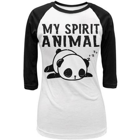 My Spirit Animal Tired Panda Cute Juniors 3/4 Sleeve Raglan T