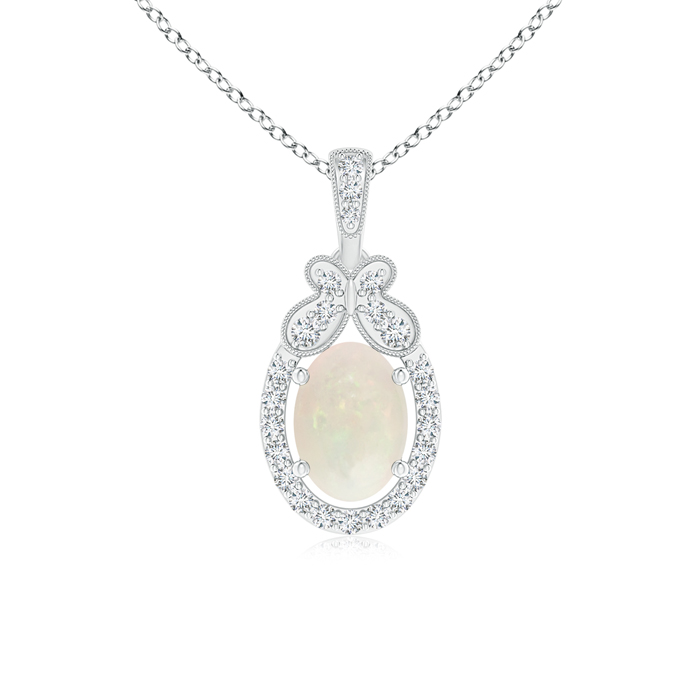 Mother's Day Jewelry Necklace Floating Oval Shaped Opal and Diamond Halo Pendant in 950 Platinum (7x5mm Opal)... by Angara.com