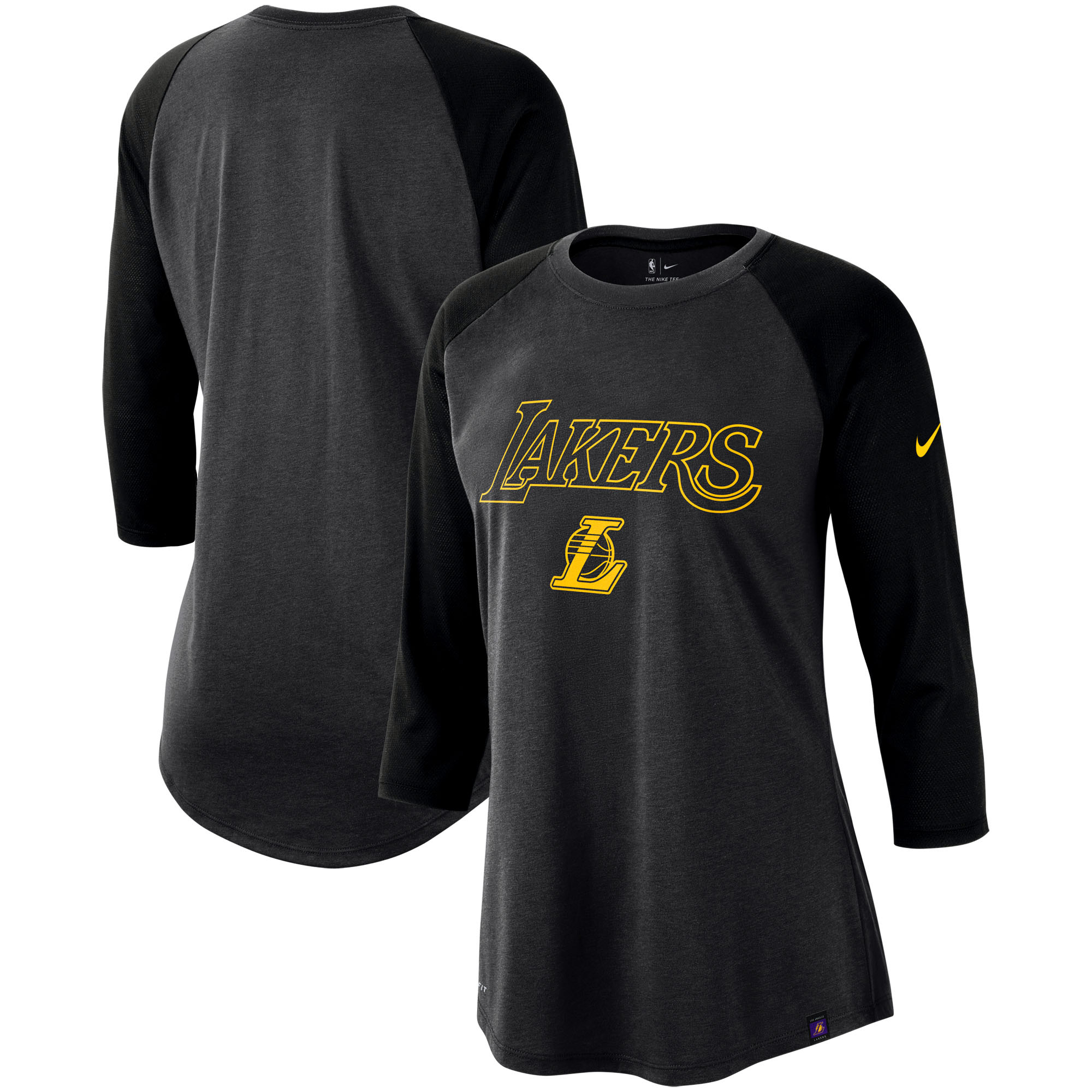 Los Angeles Lakers Nike Women's Wordmark Logo Performance 3/4-Sleeve Raglan T-Shirt - Charcoal/Black
