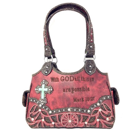 Texas West Concealed Carry Shoulder Handbag Western Purse With Rhinestone Cross In Multi Collections