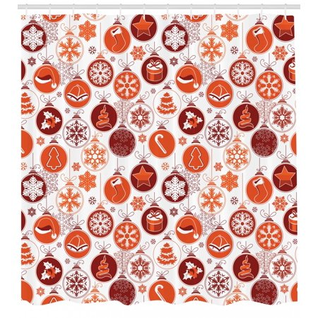 Christmas Shower Curtain Clical Themed Old Fashioned Celebration Carols Winter Season Design Patterns Fabric Bathroom Set With Hooks Red White
