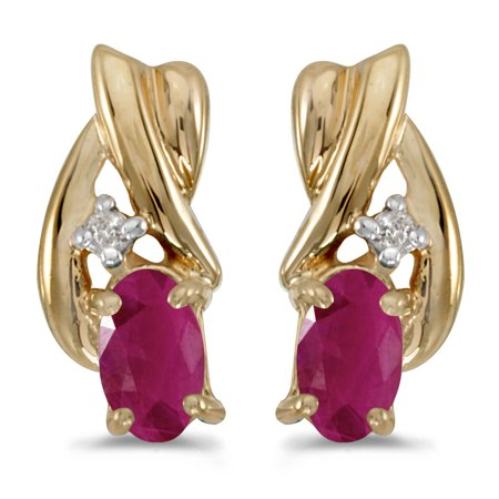14k Yellow Gold Oval Ruby And Diamond Earrings 14k 6x4mm Oval Ruby Earring
