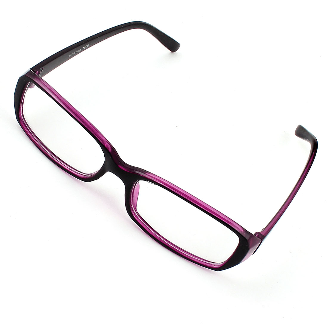 Lady Plastic Black Purple Arms Full Rim Single Bridge Clear Lens Plain Glasses