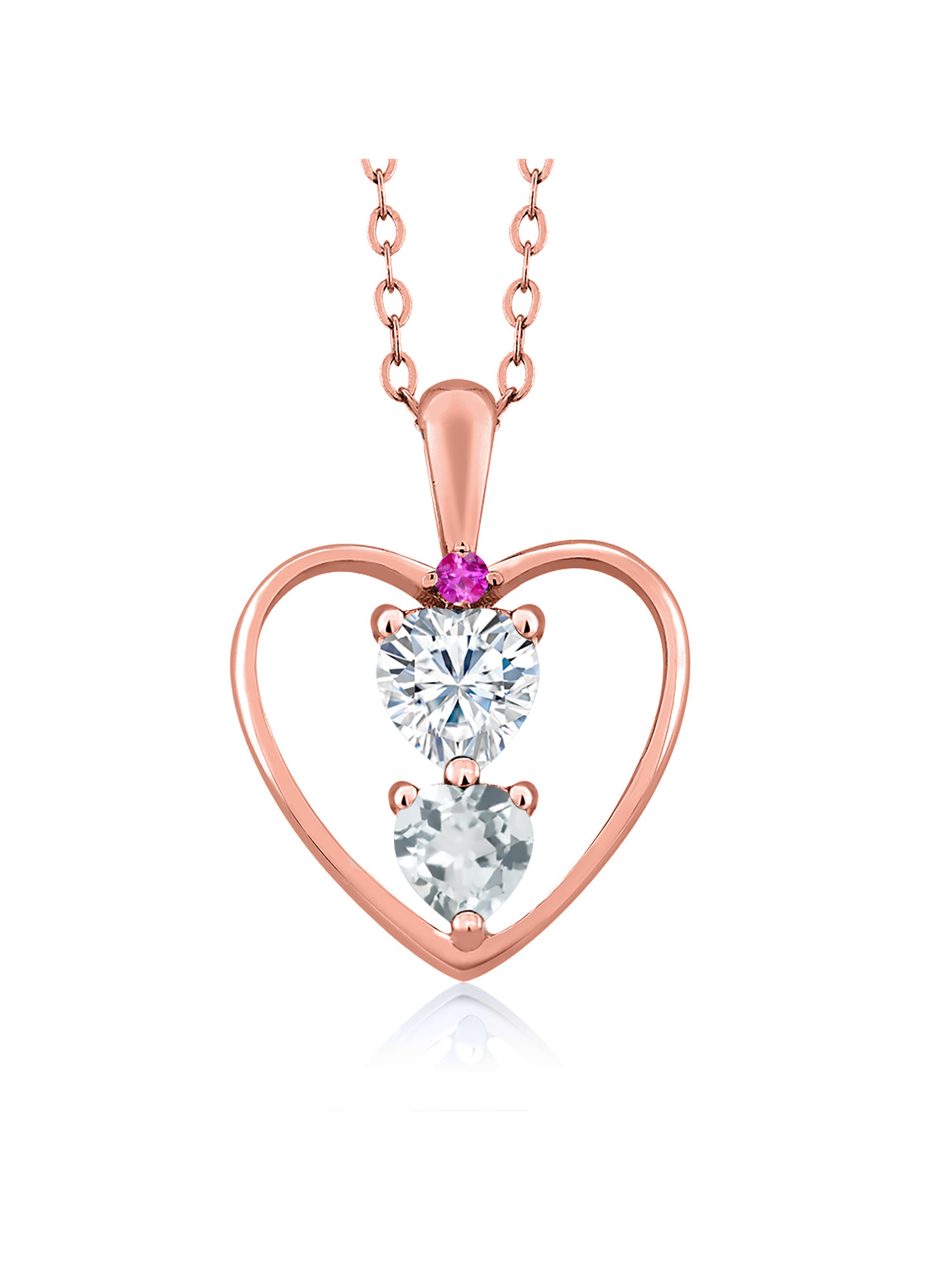 GHI DEW 18K Yellow Gold Plated Silver Pendant Forever Brilliant Created Moissanite by Charles /& Colvard and Aquamarine Heart Shape 0.50ct