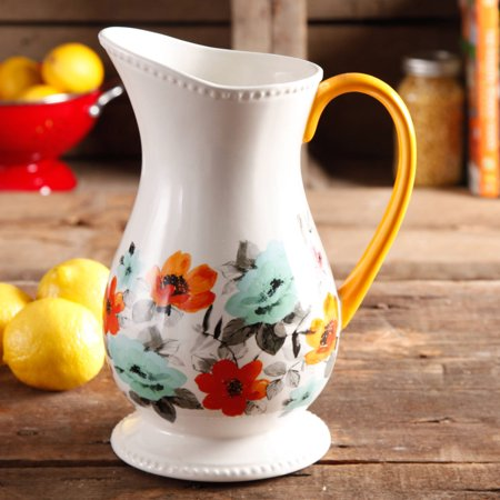 Flowered Pitcher - The Pioneer Woman Flea Market Decorated Floral 2-Quart Pitcher