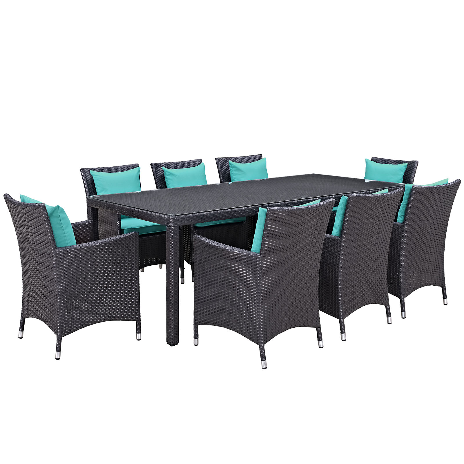 Modern Contemporary Urban Design Outdoor Patio Balcony Nine PCS Dining Chairs and Table Set, Blue, Rattan