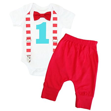 Noah's Boytique Circus First Birthday Outfit Carnival Theme Red Aqua Stripes Clothes Cake Smash with Red Pants 18-24 Months](Greek Themed Outfits)