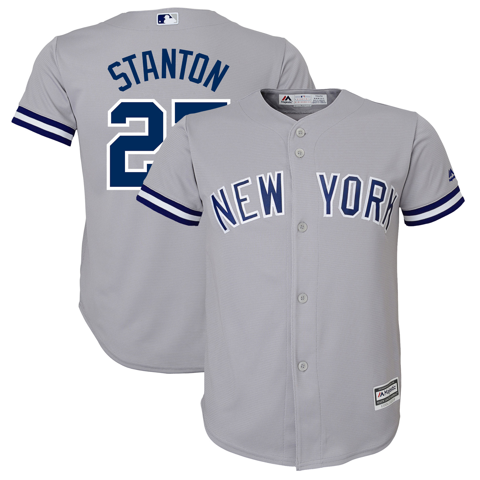 Giancarlo Stanton New York Yankees Majestic Youth Road Official Team Cool Base Player Jersey - Gray