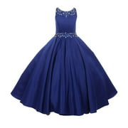Girls Royal Blue Beaded Pleated Dull Satin Junior Bridesmaid Dress