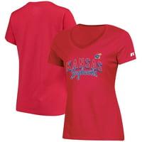 Women's Russell Athletic Red Kansas Jayhawks Arch V-Neck T-Shirt