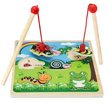 Imagination Generation Lift & Look Magnetic Bug Catcher Wooden Dexterity Fishing Game - Fishing Fishing Games