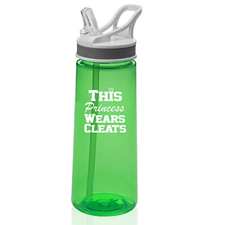 22 oz. Sports Water Bottle Travel Mug Cup With Flip Up Straw This Princess Wears Cleats Softball Soccer Lacrosse (Green) - Cleatus Cups