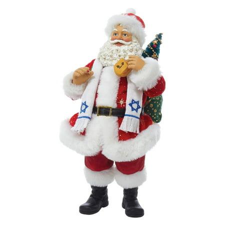 Plastic Dreidel - Kurt Adler 11-Inch Fabriché Santa Holding Dreidel
