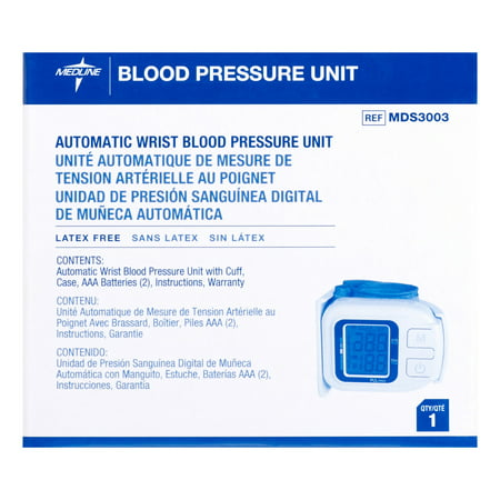 Medline Plus Automatic Wrist Blood Pressure Unit, Latex Free, White/Blue