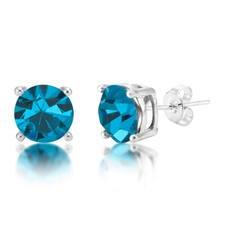 Crystal Zircon Circle Earrings (December Birthstone 8mm Blue Zircon Crystal Silver Plated Stud)