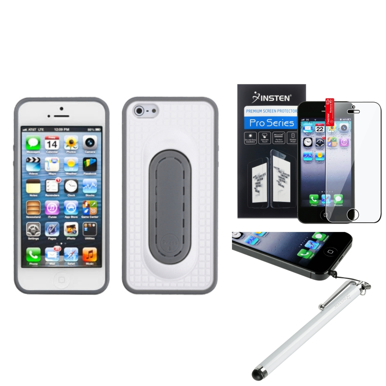 Insten White Snap Tail Stand Case (Package) For iPhone 5S 5 + Film + Stylus Pen
