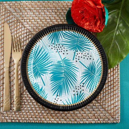 Tropical Chic Blue Palm Tree 9 In. Decorative Paper Plates (64 Sturdy Plates, 8 Sets Of 8), Perfect For Beach Weddings, Nautical Baby Showers, Birthdays, Bridal Showers, Bbqs & Luaus](Luau Paper Plates)