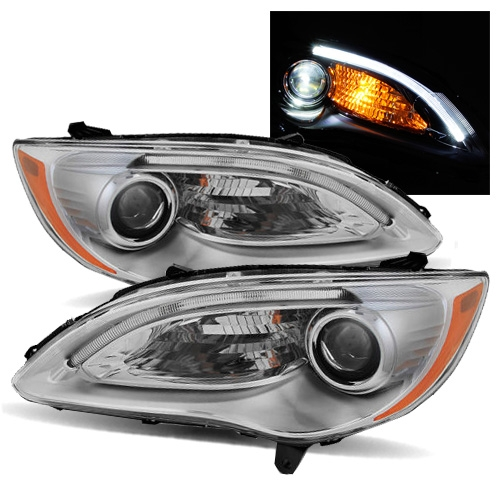 For 11 14 Chrysler 200 Led Eyelids Strip Euto Chrome Projector