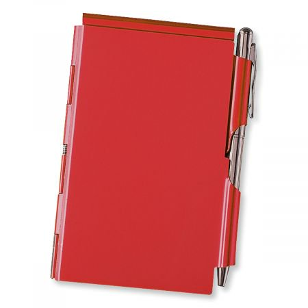 Refillable Notepad Holder - Red Metal Note Holder with Pen - 2 1/2