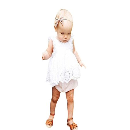 Outtop Newborn Toddler Baby Girls Infant Lace Hollow Out Romper Jumpsuit Clothes