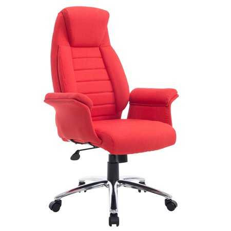 Homcom High Back Fabric Executive Office Chair Red