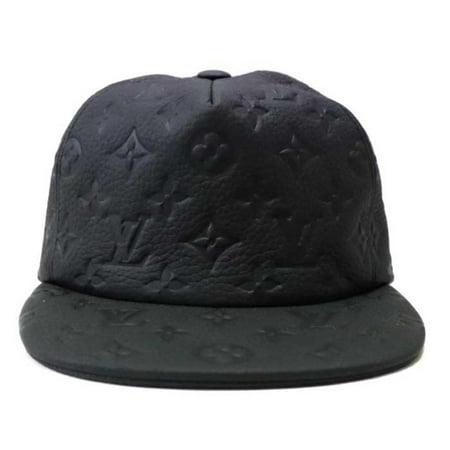 Black Ss19 Virgil Abloh Leather Monogram Noir Baseball Cap 870231 Hat ()