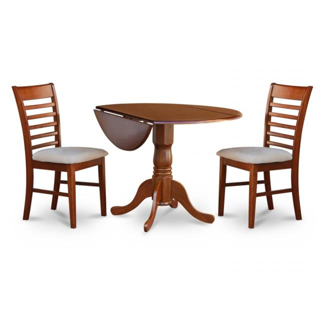 East West Furniture DLML3-SBR-C 3PC Kitchen Round Table with 2 Drop Leaves and 2 Ladder-back Chairs with Microfiber