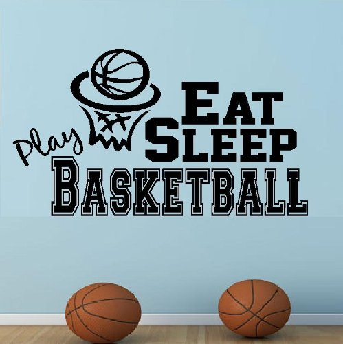 "Decal ~ EAT SLEEP PLAY BASKETBALL #2 ~ WALL DECAL, HOME DECOR 13"" X 23"""