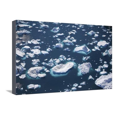 Greenland, Ilulissat, Sermeq Kujalleq, Close-Up of Drifting Icebergs and a Body of Water Stretched Canvas Print Wall Art By Aliscia Young