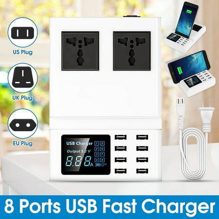 USB Fast Charger 8 Multi-Ports Quick Charging Station With 2 AC Outlets Socket LCD Display for All Smartphones Laptop Tablets USB Devices (Az Outlet)