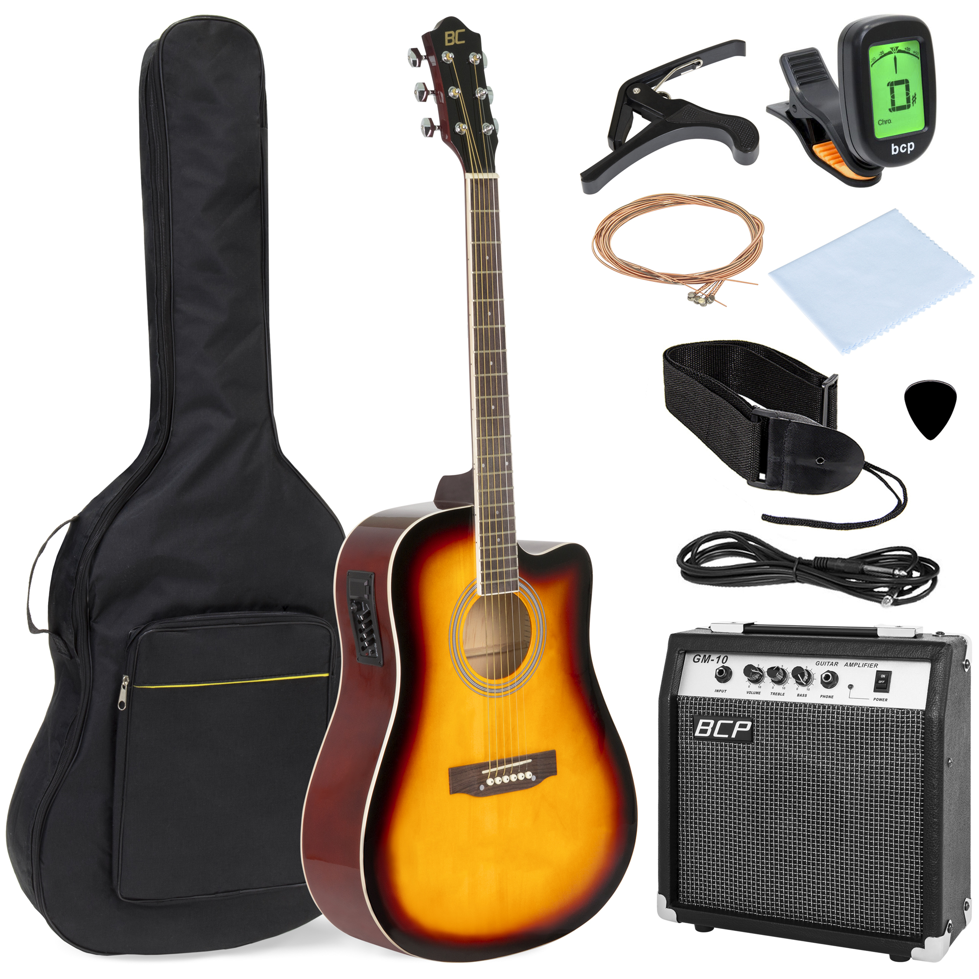 Best Choice Products 41in Full Size All-Wood Acoustic Electric Cutaway Guitar Musical Instrument Set Bundle w/ 10-Watt Amplifier, Capo, E-Tuner, Gig Bag, Strap, Picks, Extra Strings, Cloth - Sunburst