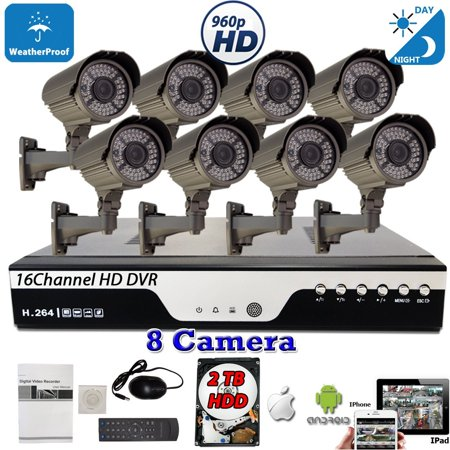 16 Channel HD DVR Home Security Camera System by Evertech w/ 8 pcs 4in1 AHD TVI CVI ANALOG 1.3MP 960P HD Indoor Outdoor CCTV Set w/ 2TB Hard Drive