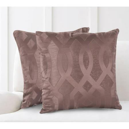 "Mainstays Geo Jacquard Decorative Throw Pillows, 18"" x 18"", Taupe"