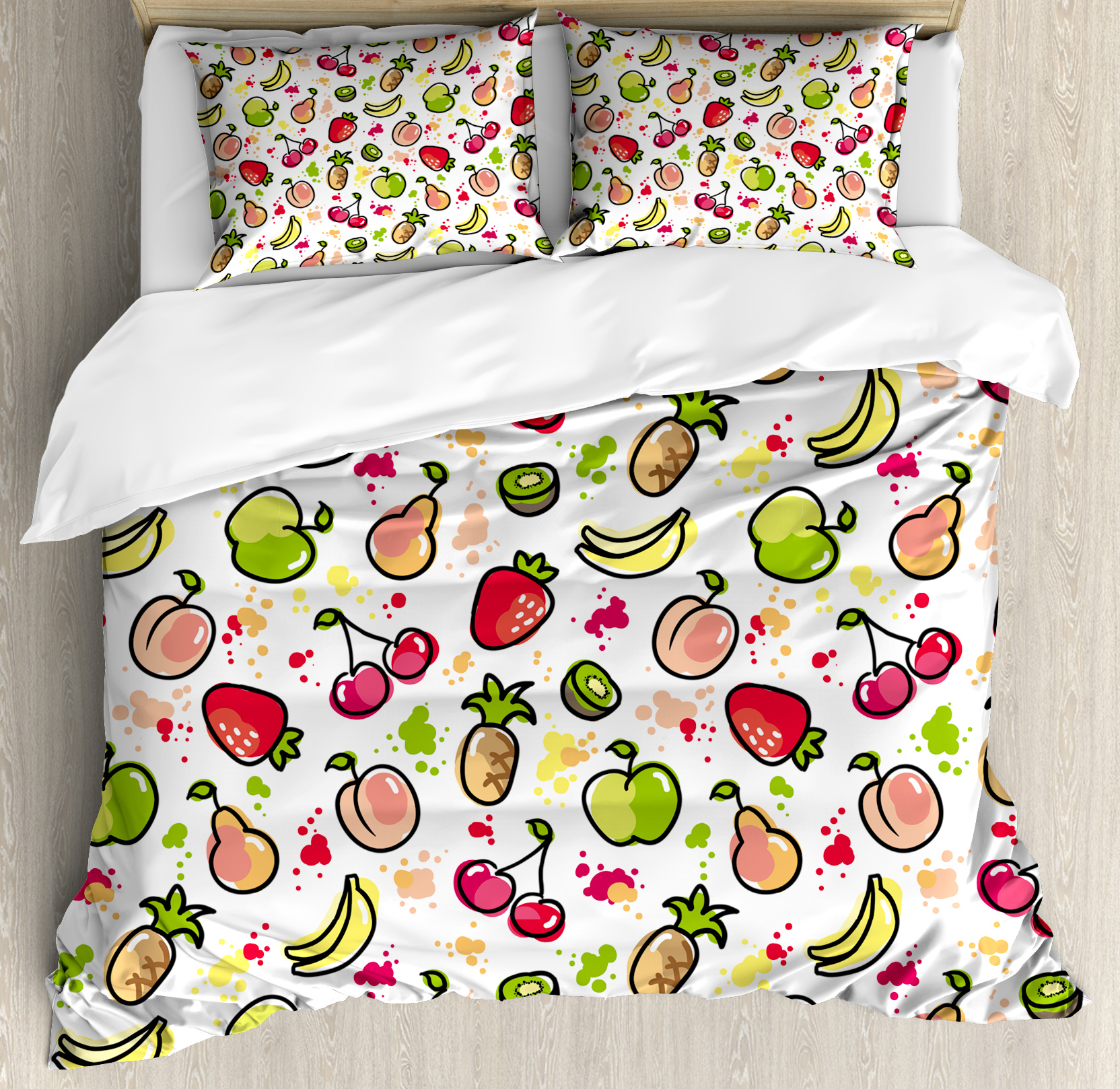 Fruits King Size Duvet Cover Set, Watercolor Pear Cherries Kiwi Apple Brushstroke Splashes... by Kozmos
