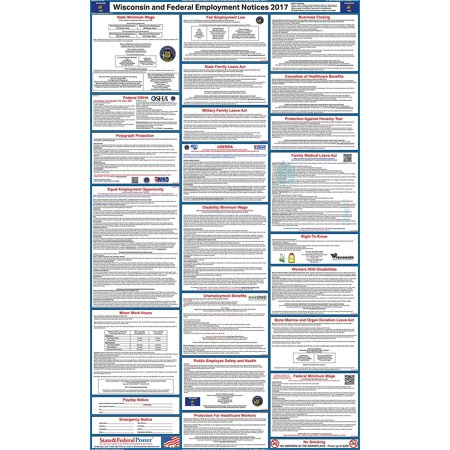 2017 Wisconsin State and Federal Labor Law Poster (Laminated)