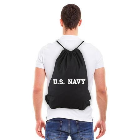 US NAVY Text Eco-Friendly Reusable Cotton Canvas Draw String Bag Black & White