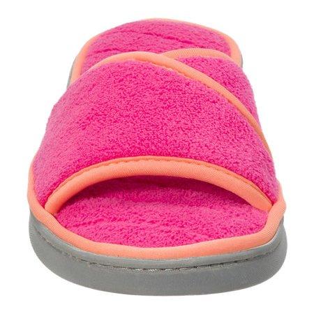 women's dearfoams microfiber terry open toe slipper