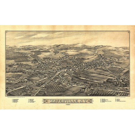 Vintage Map of Waterville New York 1885 Oneida County Stretched Canvas -  (18 x 24)