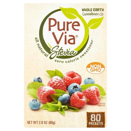 Pure Via Stevia Sweetener All Natural Zero Calorie Sweetener For Coffee   Tea Sugar Replacement  80 Count  2 8 Oz
