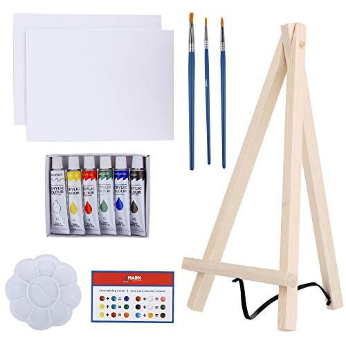 Art Canvas Paint Set Supplies – 14-Piece Mini Canvas Acrylic Painting Kit with Wood Easel, 6x8 inch Canvases, 6 Non Toxic Washable Paints, 3 Brushes, Palette and Color Mixing -