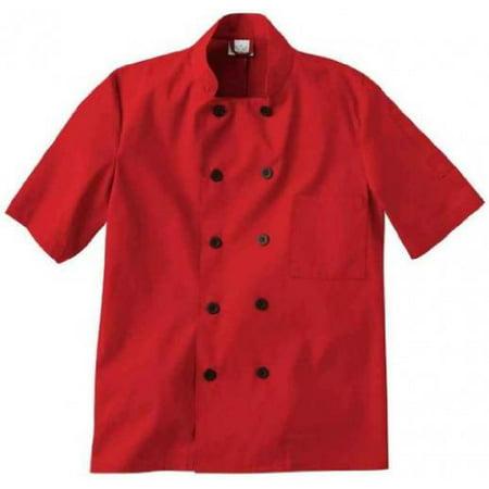 - White Swan Short Sleeve Unisex Chef Jacket (Red, 5X)